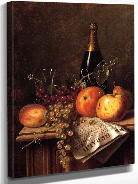 Still Life With Fruit, Champagne Bottle And Newspaper By William Michael Harnett