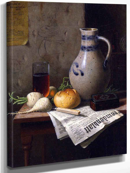 Still Life With Jug And Newspaper By William Michael Harnett
