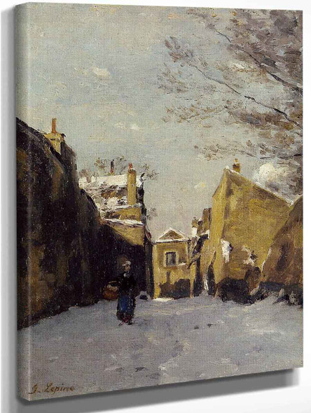 Street In Montmartre, Snow Effect By Stanislas Lepine