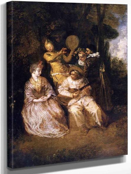 The Italian Serenade By Jean Antoine Watteau French1684  1721