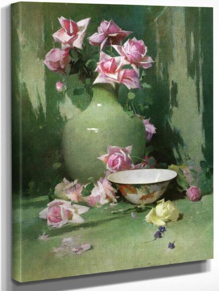 Vase Of Roses By Emil Carlsen By Emil Carlsen
