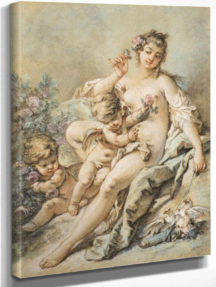Venus Giving Roses To Two Cupids By Francois Boucher
