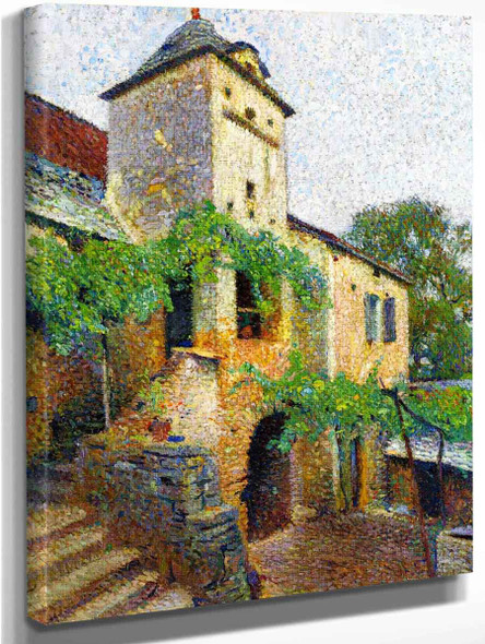 View Of A Farm With A Dovecote By Henri Martin