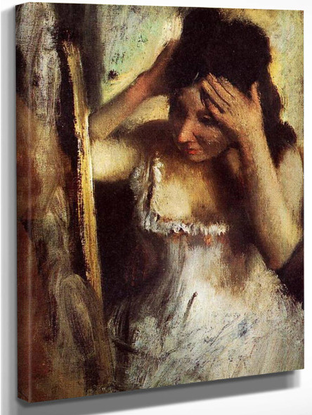 Woman Combing Her Hair Before A Mirror By Edgar Degas