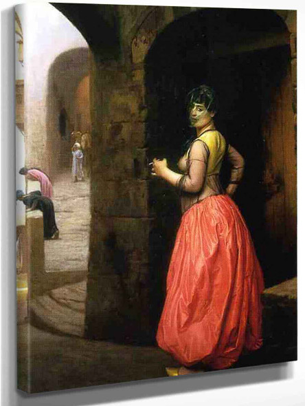 Woman From Cairo, Smoking A Cigarette By Jean Leon Gerome