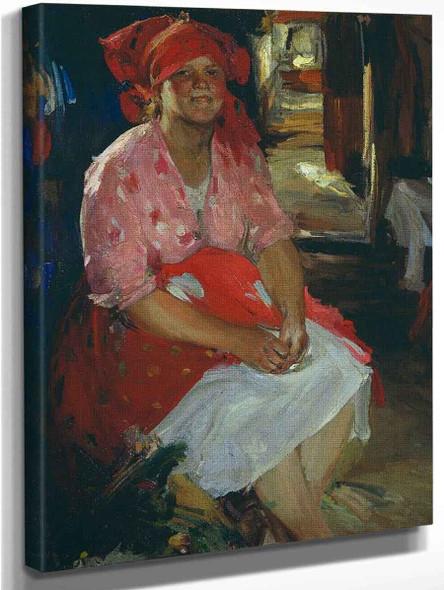 Woman In Pink By Abram Efimovich Arkhipov