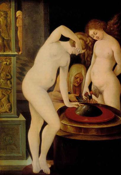 Women's Bath With A Mirror  By Hans Baldung Grien By Hans Baldung Grien