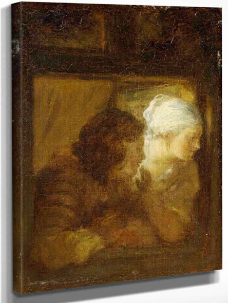 Young Couple At The Window By Jean Honore Fragonard