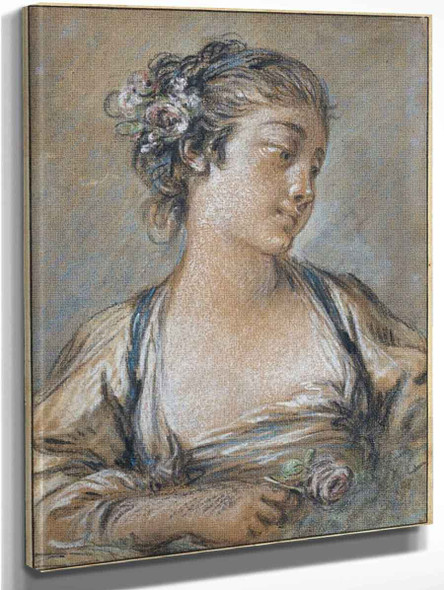 Young Woman Holding A Rose By Francois Boucher