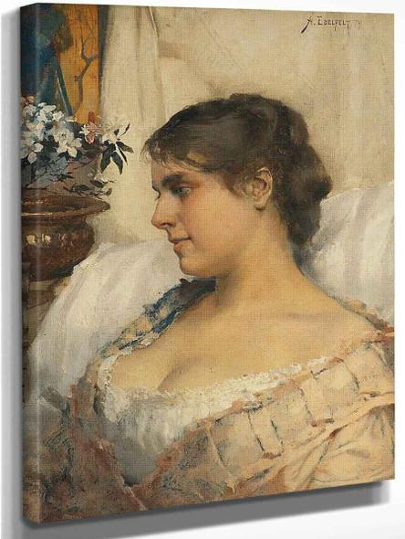 Young Woman In Her Boudoir By Albert Edelfelt