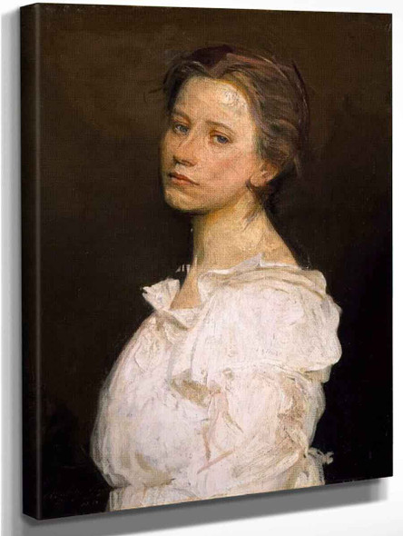 Young Woman In White By Abbott Handerson Thayer