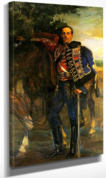 Alfonso Xiii Con Uniforme De Húsar De Pavia By Jose Mongrell Torrent(Spanish, 1870 1937) Art Reproduction