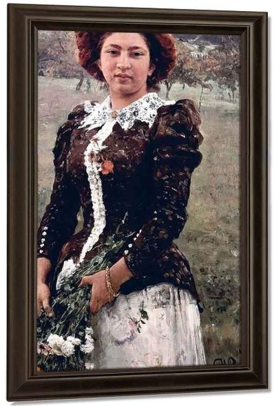 Autumn Bouquet. Portrait Of Vera Repina. By Ilia Efimovich Repin By Ilia Efimovich Repin