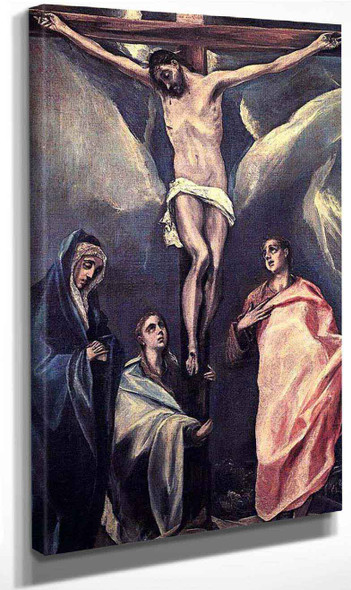 Christ On The Cross With The Two Maries And St John By El Greco By El Greco