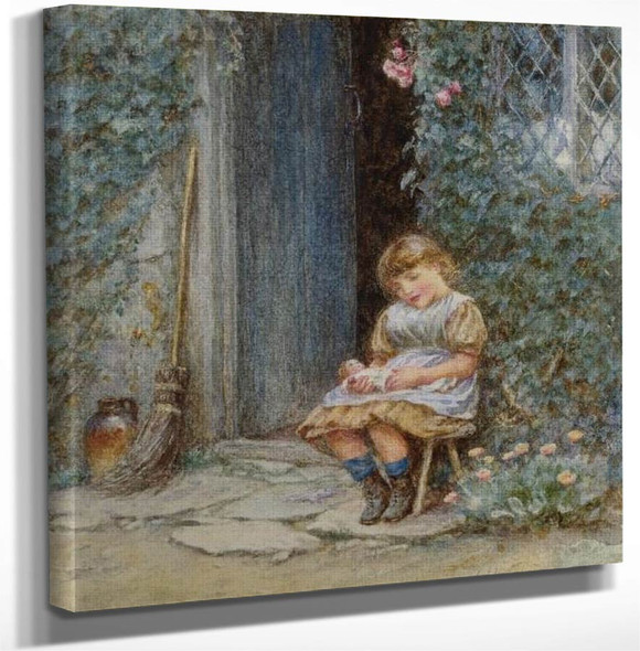 A Little Girl With Puppet By Helen Allingham Art Reproduction