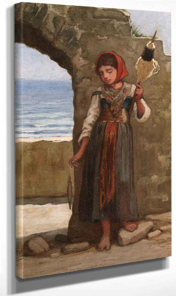 Girl With Distaff By Elihu Vedder