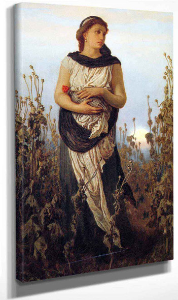 Girl With Poppies0 By Elihu Vedder
