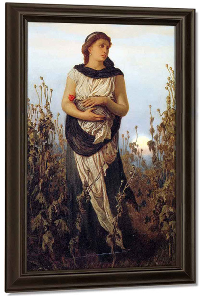 Girl With Poppies By Elihu Vedder