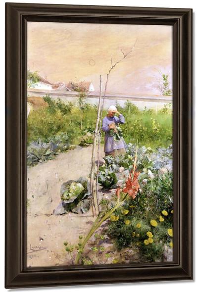 In The Kitchen Garden By Carl Larsson