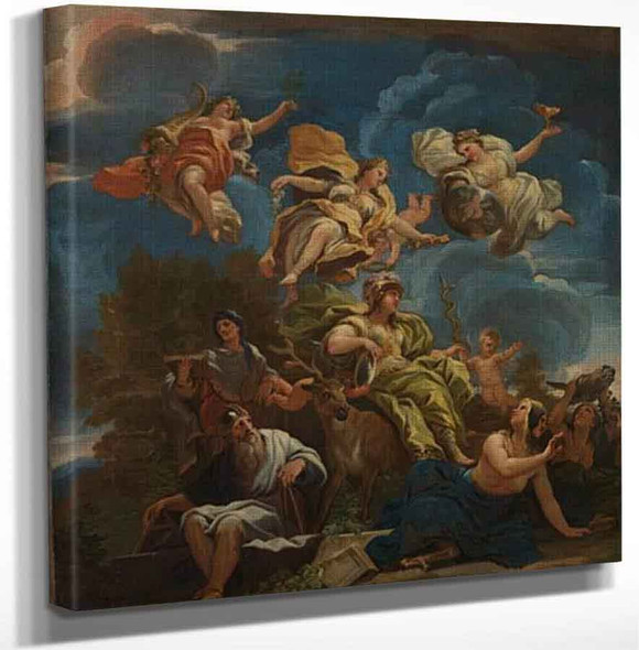 Allegory Of Prudence By Luca Giordano Aka Luca Fa Presto By Luca Giordano Art Reproduction