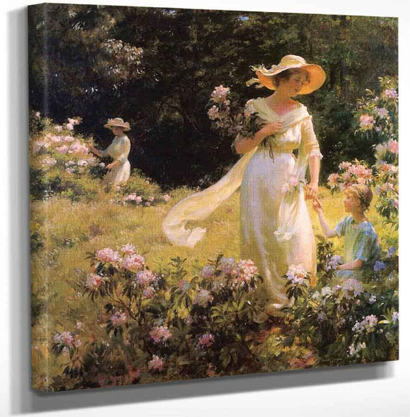 Among The Laurel Blossoms By Charles Courtney Curran Art Reproduction