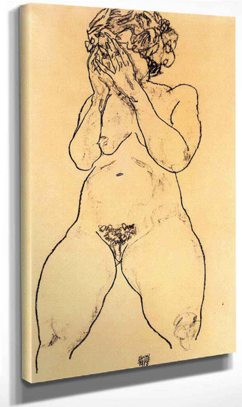 Nude Gir From The Front, Hands Over Her Face By Egon Schiele Art Reproduction