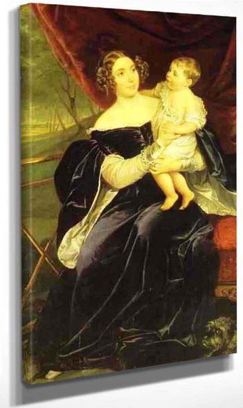Portrait Of Countess O.I.Orlova Davydova And Her Daughter By Karl Pavlovich Brulloff