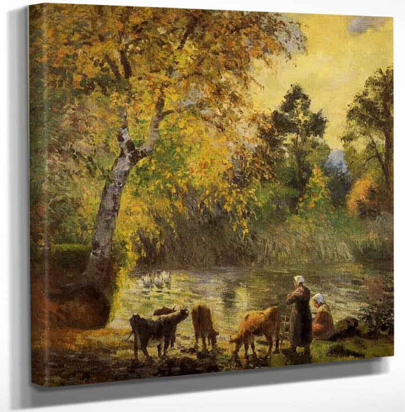 Autumn Montfoucault Pond By Camille Pissarro Art Reproduction