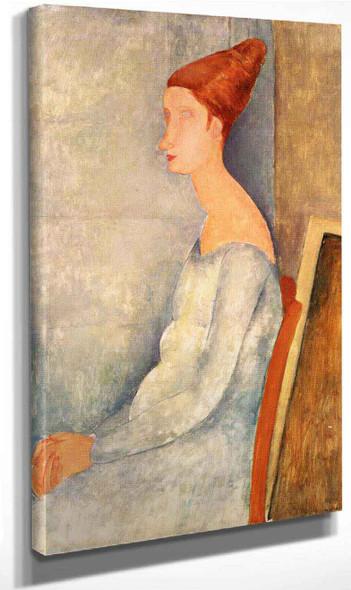 Portrait Of Jeanne Hebuterne Seated In Profile By Amedeo Modigliani By Amedeo Modigliani