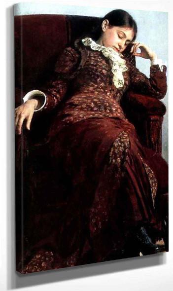 Rest. Portrait Of Vera Repina, Artist's Wife. By Ilia Efimovich Repin Art Reproduction