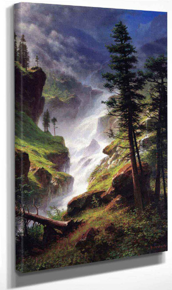 Rocky Mountain Waterfall By Albert Bierstadt By Albert Bierstadt