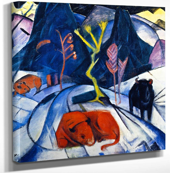 Bison In Winter By Franz Marc Art Reproduction
