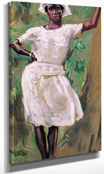 Sketch Of Young Black Woman In White Dress And Hat By Gari Melchers
