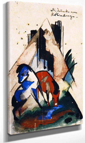 The Watering Place At The Ruby Mountain By Franz Marc By Franz Marc