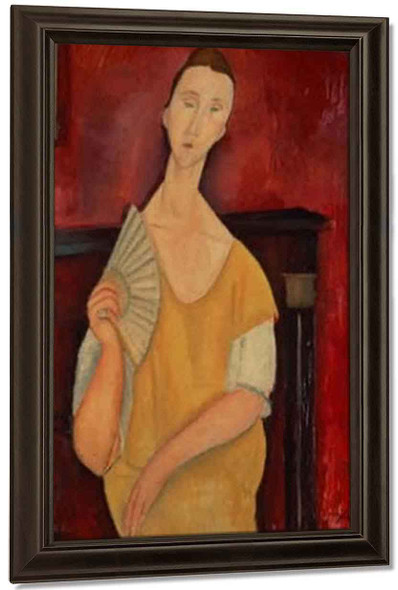 Woman With A Fan By Amedeo Modigliani By Amedeo Modigliani