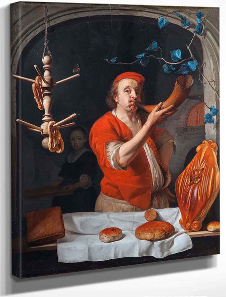 A Baker Blowing His Horn By Gabriel Metsu