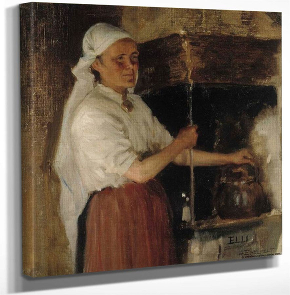 Elli Jäppinen At The Stove By Albert Edelfelt(Finnish 1854 1905) Art Reproduction