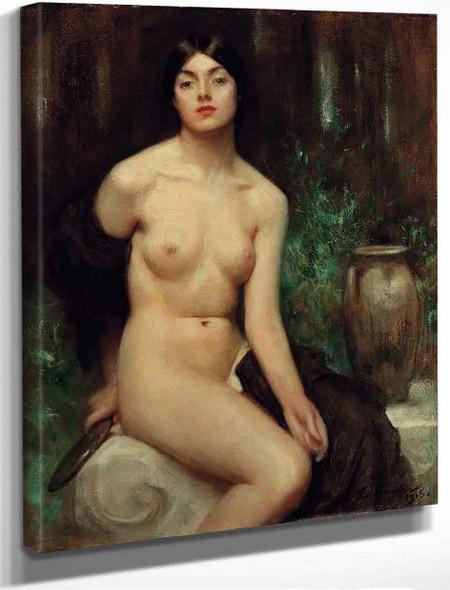 A Female Nude At Her Toilet By Arthur Hacker By Arthur Hacker