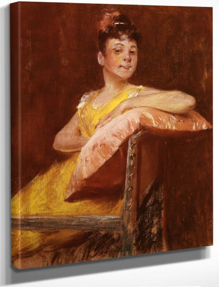 A Girl In Yellow By William Merritt Chase By William Merritt Chase