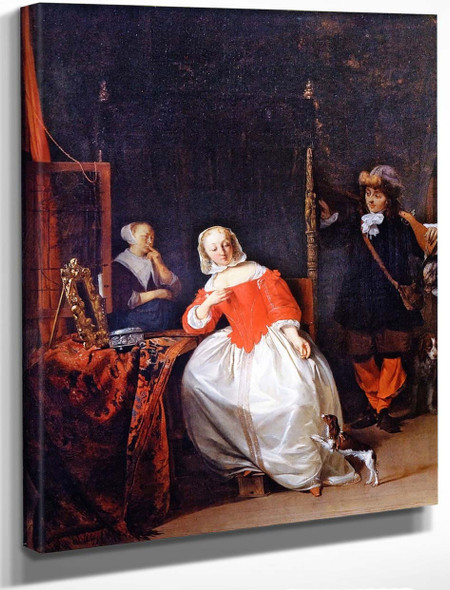 A Hunter Visiting A Woman At Her Toilet By Gabriel Metsu