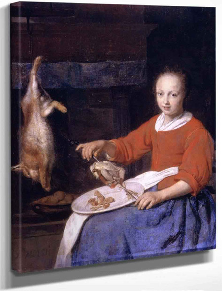 A Kitchen Maid Skewering Poultry By Gabriel Metsu