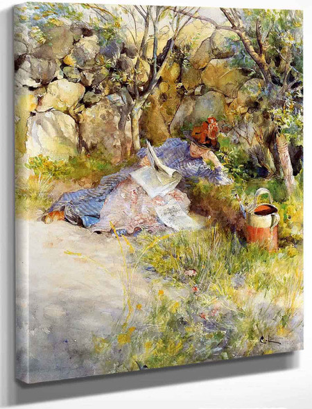 A Lady Reading A Newspaper By Carl Larsson