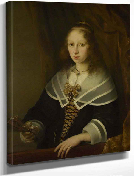 A Lady With A Fan By Ferdinand Bol
