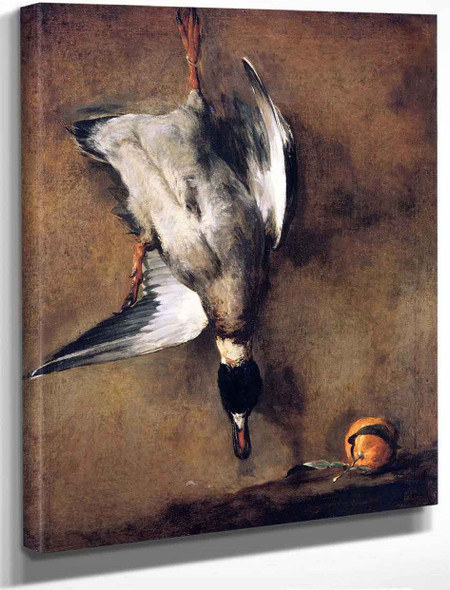 A Mallard Drake Hanging On A Wall And A Seville Orange By Jean Baptiste Simeon Chardin By Jean Baptiste Simeon Chardin