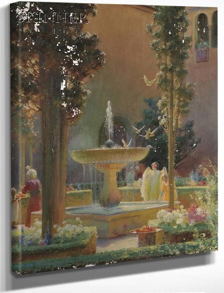 A Moorish Garden, Alhambra By Charles Courtney Curran By Charles Courtney Curran