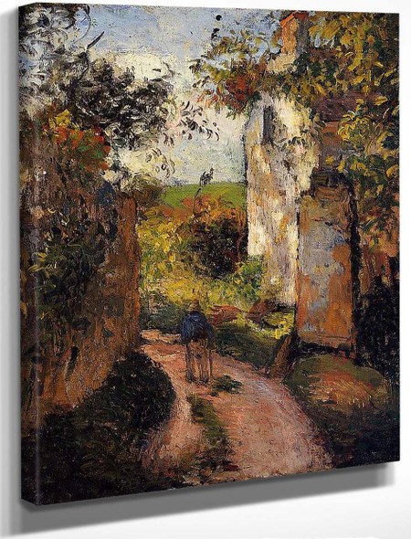 A Peasant In The Lane At L'hermitage, Pontoise By Camille Pissarro By Camille Pissarro