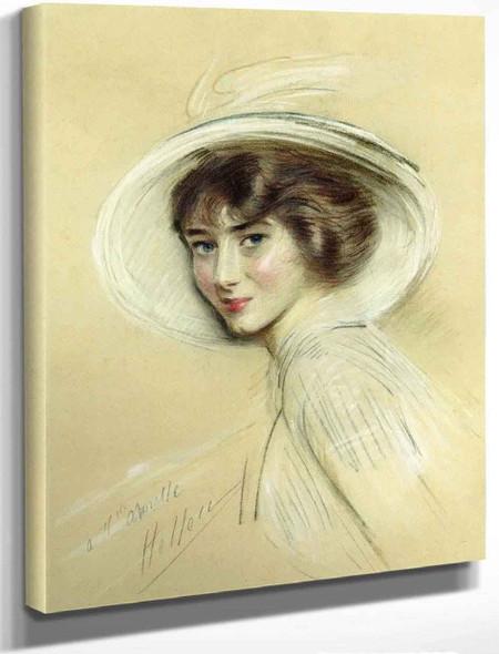 A Portrait Of Annette, Wearing A White Hat By Paul Cesar Helleu