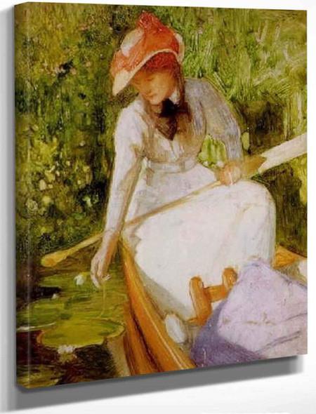 A Quiet Cove, Girl Canoeing By Arthur Hacker By Arthur Hacker