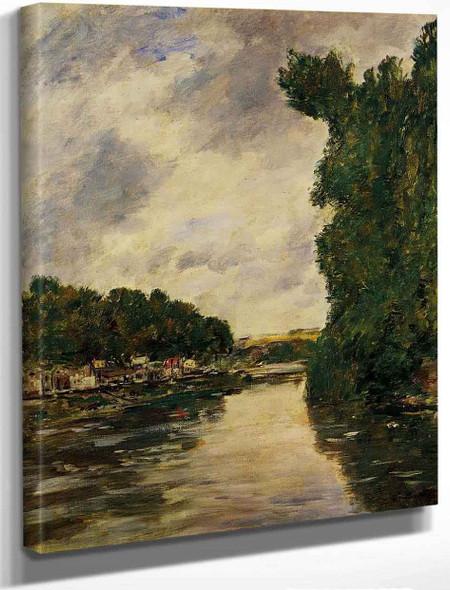 A River Near Dabbeville By Eugene Louis Boudin By Eugene Louis Boudin