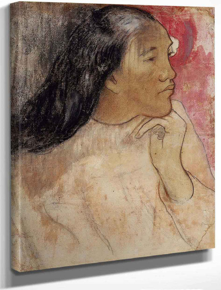A Tahitian Woman With A Flower In Her Hair By Paul Gauguin By Paul Gauguin